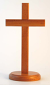 STANDING CROSS 20CM ROUND BASE NATURAL WOOD