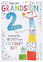 GRANDSON 2ND BIRTHDAY CARD