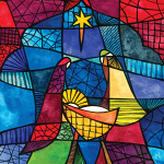 STAINED GLASS ADVENT CALENDAR CARD
