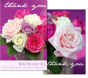 ROSES THANK YOU NOTELETS PACK OF 10
