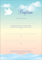BAPTISM CERTIFICATE WAVES PACK OF 10